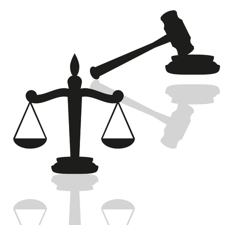 court symbol: Scales of justice and gavel  Illustration