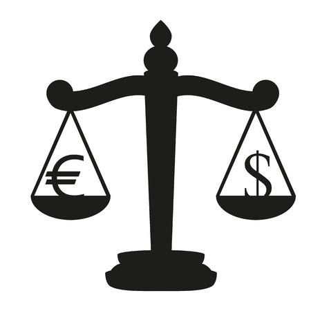 Scales with signs of euro and dollar Stock Vector - 16672154