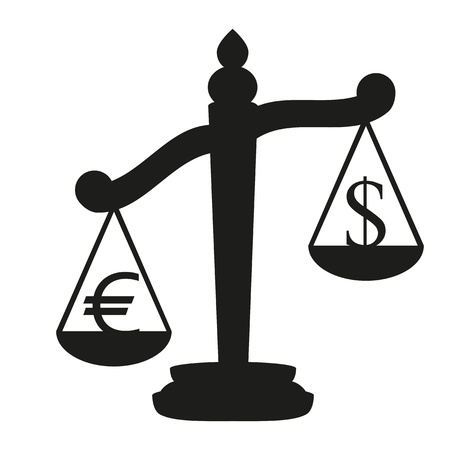 Scales with signs of euro and dollar Stock Vector - 16672153