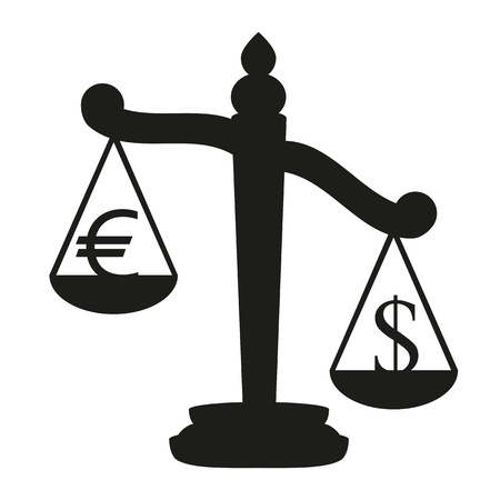 scale of justice: Scales with signs of euro and dollar