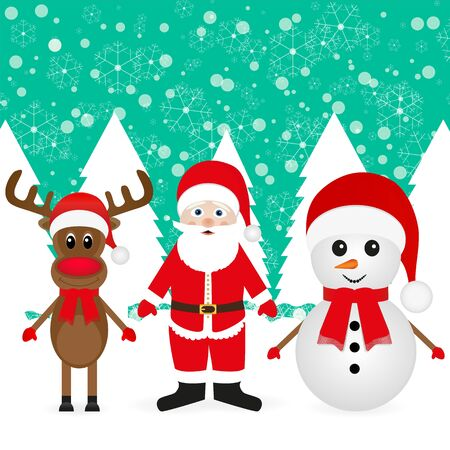 Snowman, Santa Claus and Christmas reindeer in fairy forest  Vector
