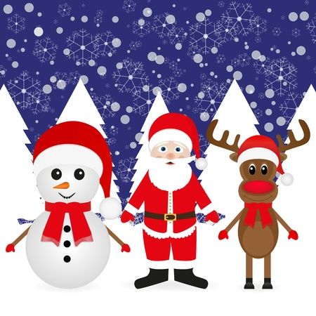 Christmas reindeer, snowman and Santa Claus in a winter forest  Stock Vector - 16740183