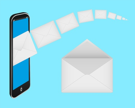 envelopes and a mobile phone Stock Vector - 16718114