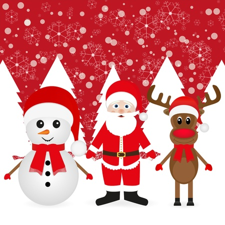 Christmas reindeer, snowman and Santa Claus in a forest Stock Vector - 16740184