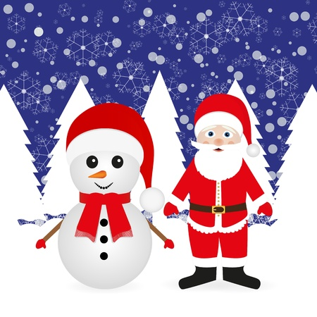 Santa Claus and snowman in the woods with banners  Vector