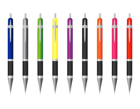 ball pens stationery: un conjunto de l?pices de colores
