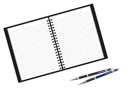 Notebook and pens  Stock Vector - 16718132