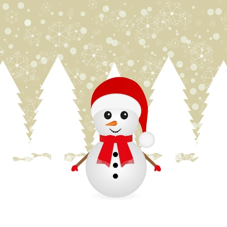 Snowman in the forest Stock Vector - 16973690
