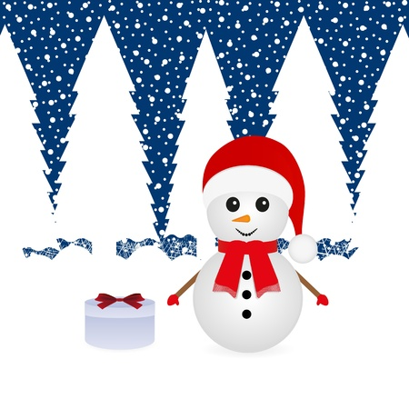 Snowman in a forest and a gift  Vector