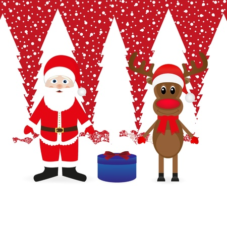 Santa Claus, reindeer and Christmas gift Stock Vector - 16973687