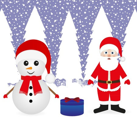 Santa Claus, a snowman and a Christmas gift  Stock Vector - 16973716