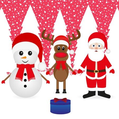Santa Claus, snowman, reindeer and Christmas gift Stock Vector - 16973713
