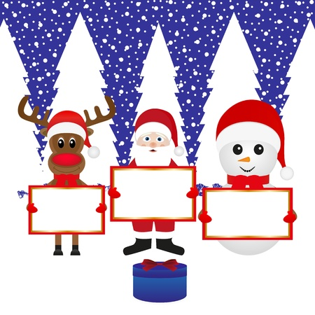 Snowman, Santa Claus, reindeer with banners and present forest Stock Vector - 16973712