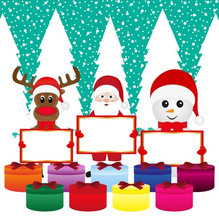 Snowman, Santa Claus, reindeer with banners and Christmas gift Stock Vector - 16973717