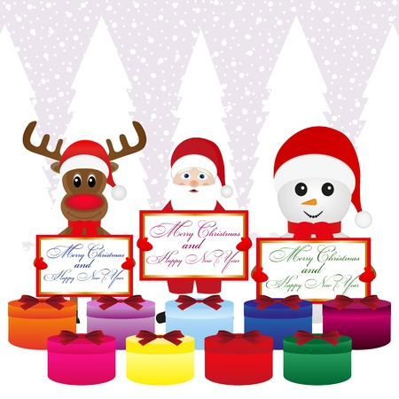 Snowman, Santa Claus, reindeer with banners and presentations Stock Vector - 16973720
