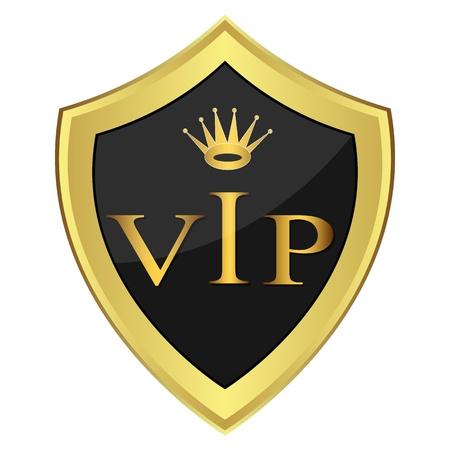 Black shield with the inscription   VIP