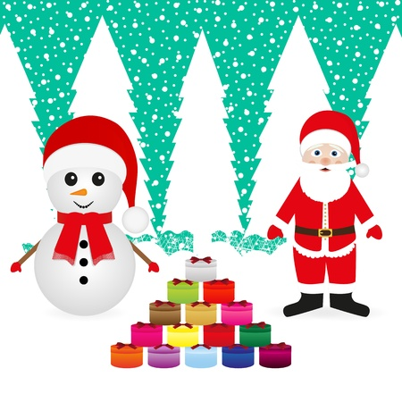 Santa Claus and snowman with Christmas presents Stock Vector - 16973719