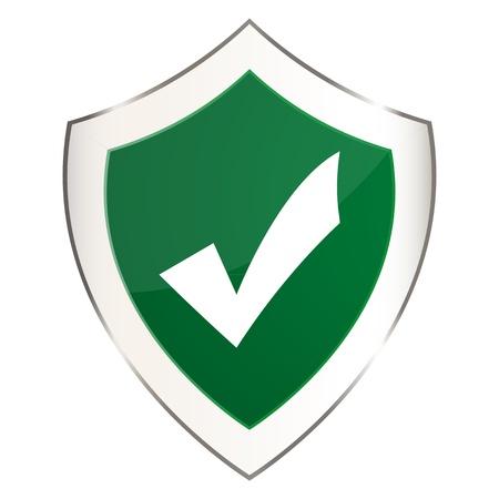 Green shield with a check mark Stock Vector - 16973738