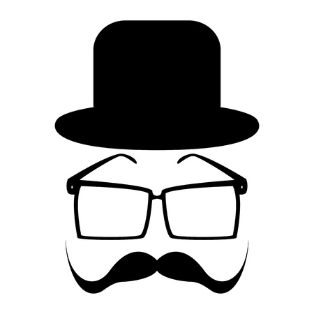 sideburns: Mustache, glasses and a hat  Illustration