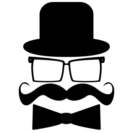 Mustache, hat, sunglasses and a butterfly  Vector
