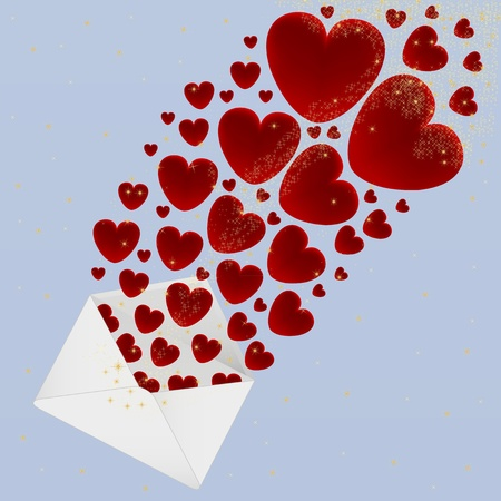 Hearts fly out of the envelope  Vector