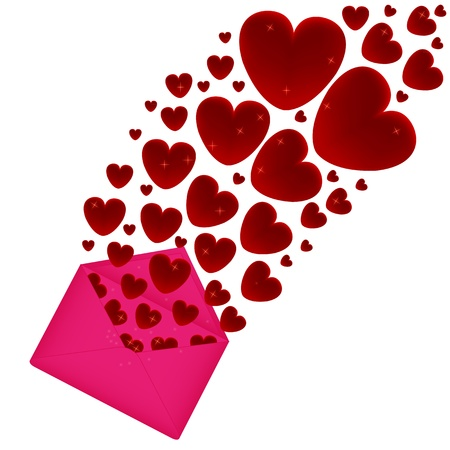 Heart fly out of the pink envelope  Vector
