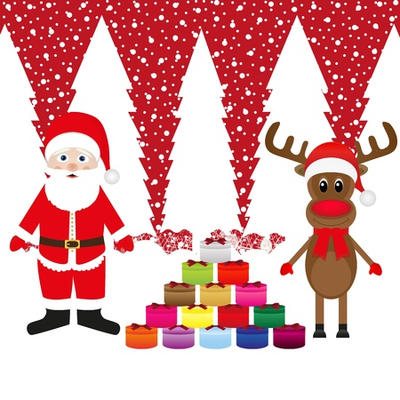 Snowman and Santa Claus with gifts  Stock Vector - 16973778