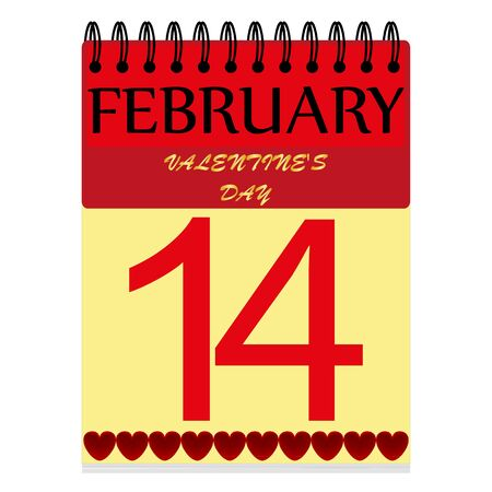 february 1: February 14 on the calendar Illustration