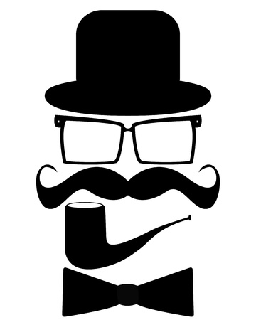 Hat, glasses, mustache, pipe and butterfly Vector