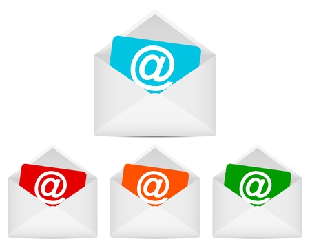 set of envelopes with email symbol Vector