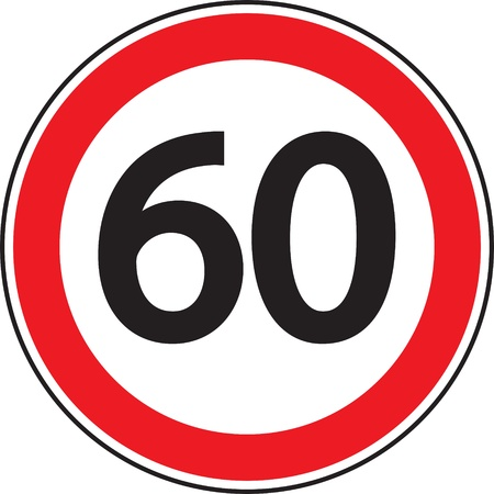 sixty: Road sign  Restriction of speed  Illustration