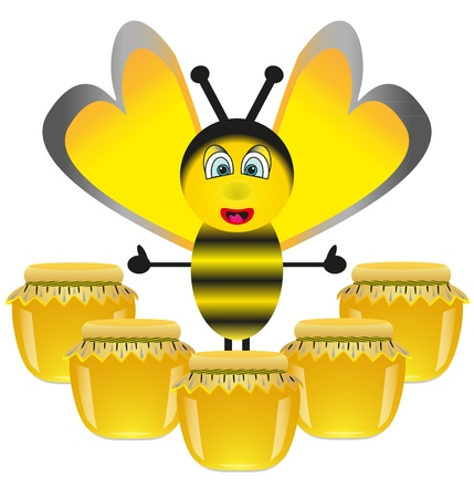Cheerful bee and jars with honey Stock Vector - 17140129