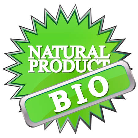 green button labeled natural product Stock Vector - 17140486