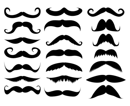 mustache in a set on a white background Stock Illustratie