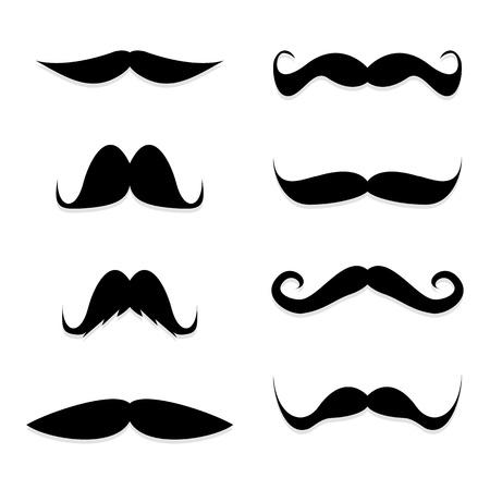 sideburns: Set mustache on white background Illustration