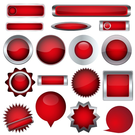 set of red buttons Stock Vector - 17140467