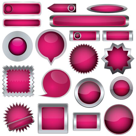 A set of pink buttons Stock Vector - 17140481
