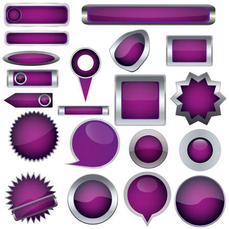 Set of purple buttons Stock Vector - 17140480