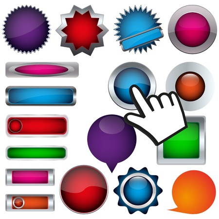 set of buttons and a cursor Stock Vector - 17140464