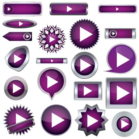 Play a set of purple buttons Stock Vector - 17140500
