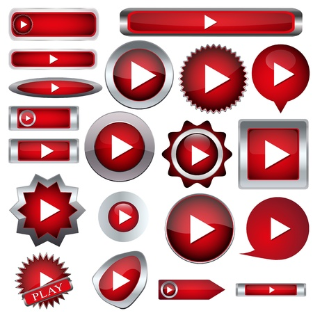set of red buttons to play Stock Vector - 17140519