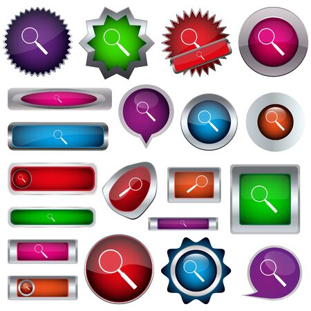 set of colored buttons with magnifying glass Stock Vector - 17140532