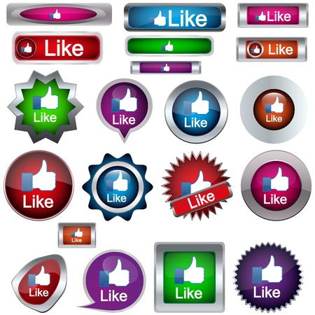 set of buttons with icons like Stock Vector - 17181839