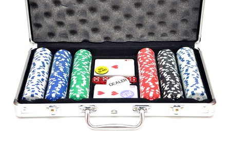 Case with a set of poker Stock Photo - 17266077
