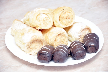 Pastry rolls with cream and potatoes Stock Photo - 17396956