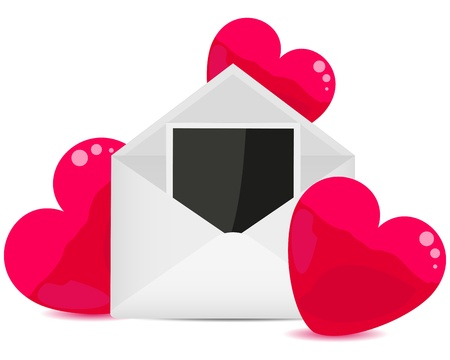photo in the envelope and hearts Vector