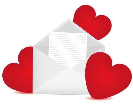 Letter in an envelope and red hearts Vector