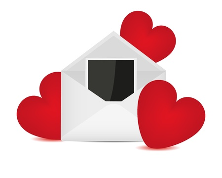 photo of object s: Photos in an envelope and red hearts