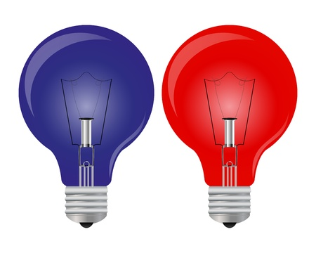 ight: Red and blue ight bulb