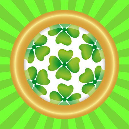 symbol of the day of St  patrka in round frame Vector
